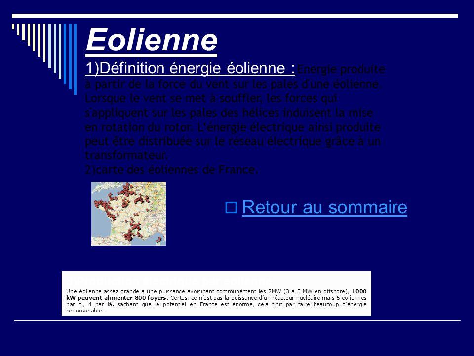 Eolienne 1)Définition énergie éolienne : Energie produite à partir de la force du vent sur les pales d'une éolienne. Lorsque le vent se met à souffler