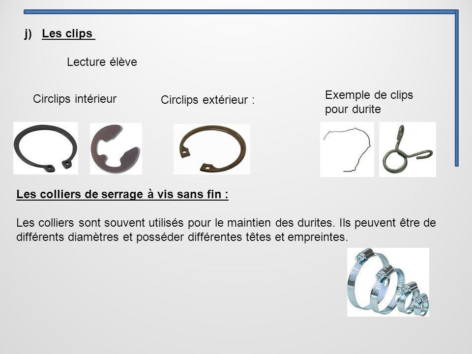j) Les clips Circlips extérieur : Exemple de clips pour durite Circlips intérieur Lecture élève Les colliers de serrage à vis sans fin : Les colliers sont souvent utilisés pour le maintien des durites.