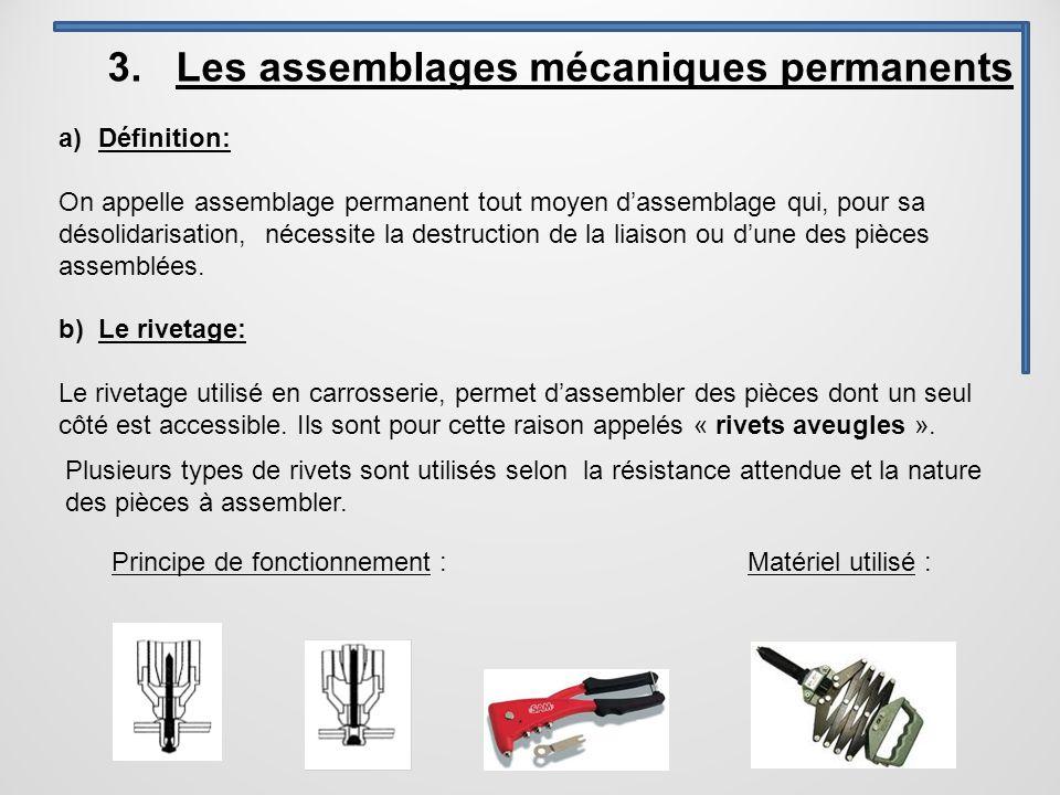 3. Les assemblages mécaniques permanents a)Définition: On appelle assemblage permanent tout moyen d'assemblage qui, pour sa désolidarisation, nécessit