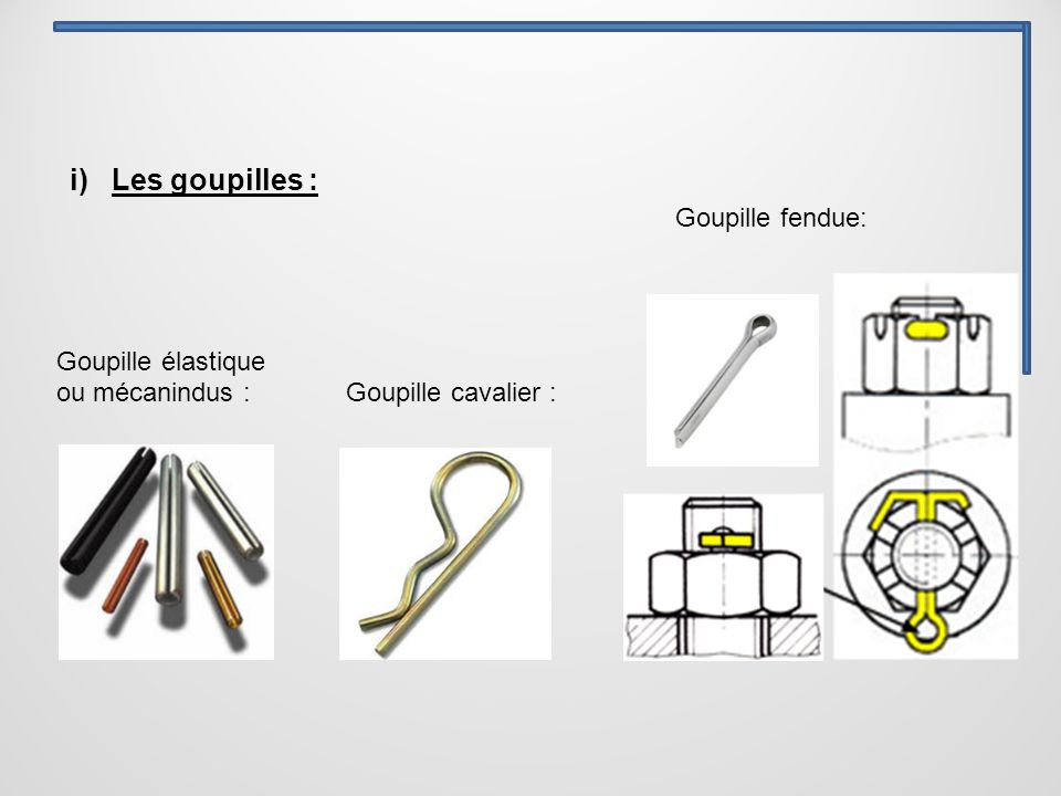 i) Les goupilles : Goupille élastique ou mécanindus : Goupille cavalier : Goupille fendue: