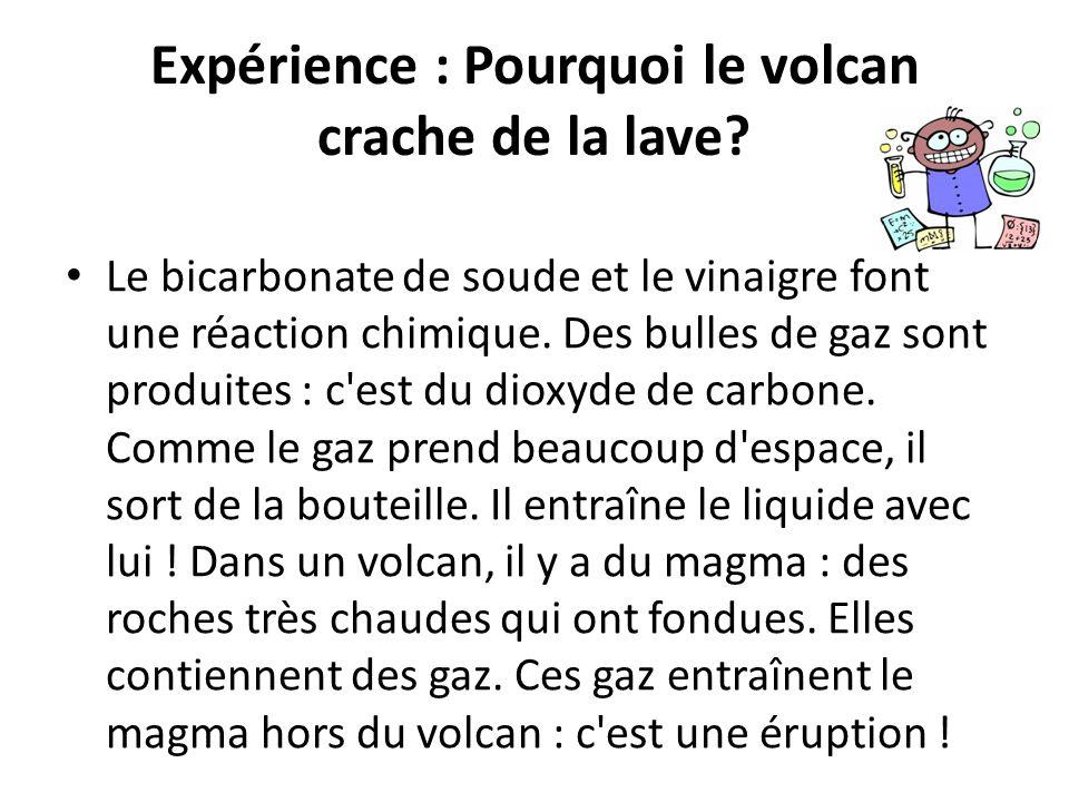 Expérience : Pourquoi le volcan crache de la lave? Le bicarbonate de soude et le vinaigre font une réaction chimique. Des bulles de gaz sont produites
