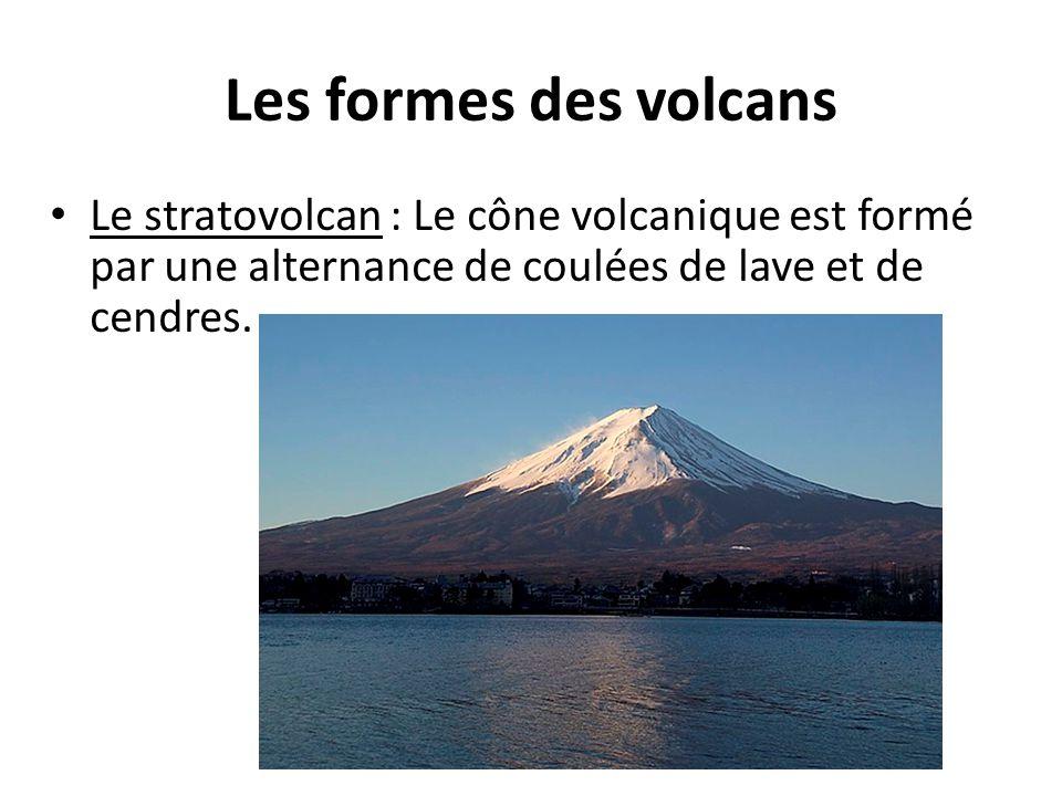 Les formes des volcans Le stratovolcan : Le cône volcanique est formé par une alternance de coulées de lave et de cendres.