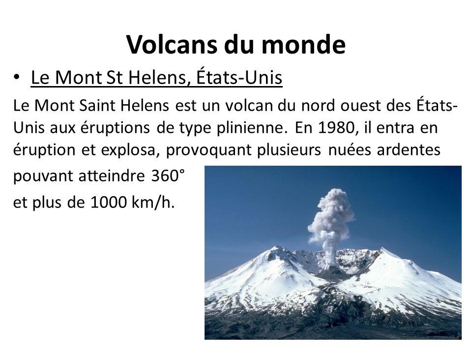 Volcans du monde Le Mont St Helens, États-Unis Le Mont Saint Helens est un volcan du nord ouest des États- Unis aux éruptions de type plinienne. En 19