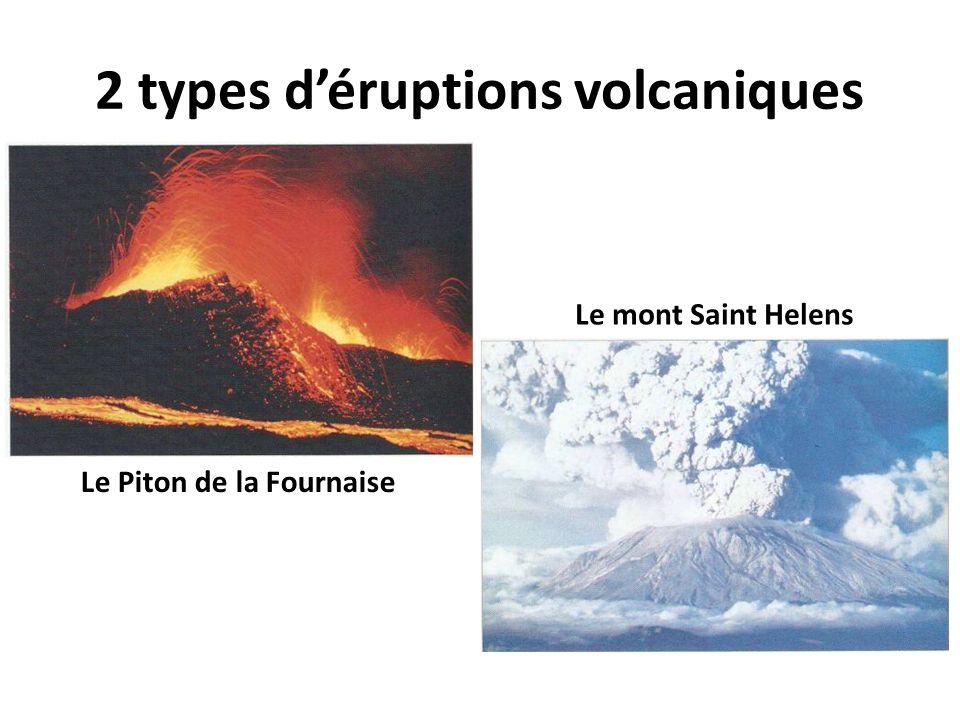 2 types d'éruptions volcaniques Le Piton de la Fournaise Le mont Saint Helens
