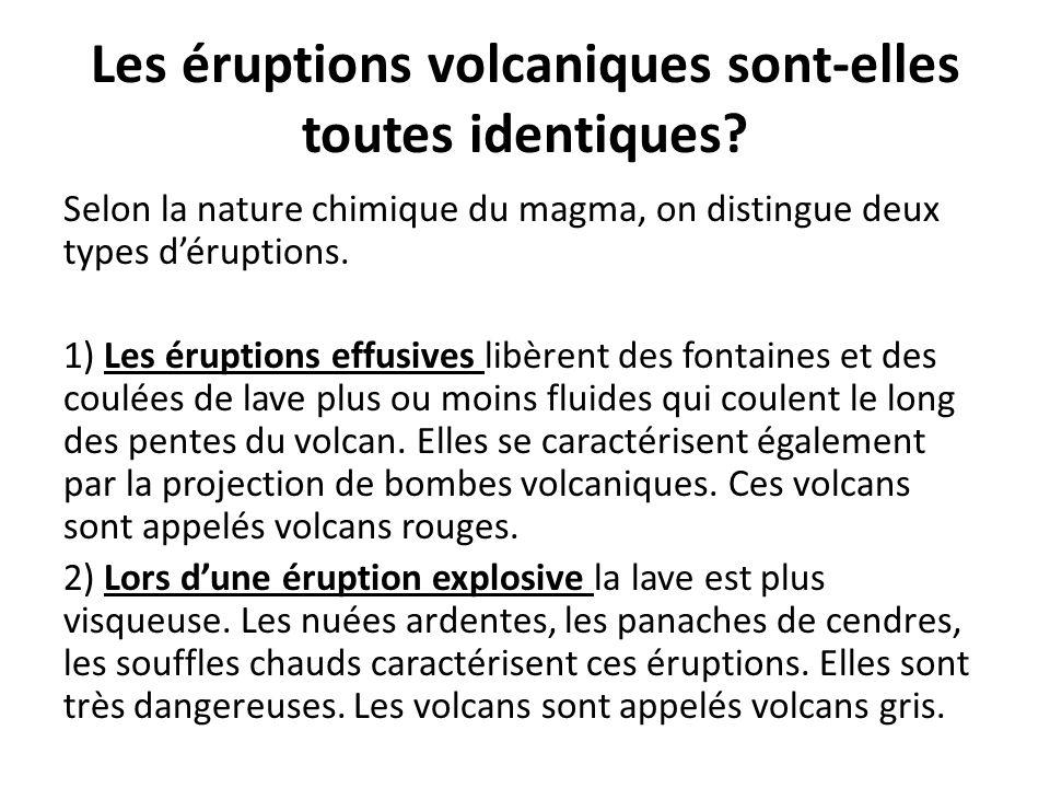 Les éruptions volcaniques sont-elles toutes identiques? Selon la nature chimique du magma, on distingue deux types d'éruptions. 1) Les éruptions effus