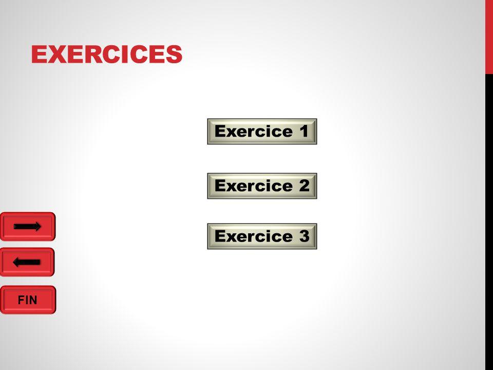 FIN EXERCICES Exercice 1 Exercice 2 Exercice 3