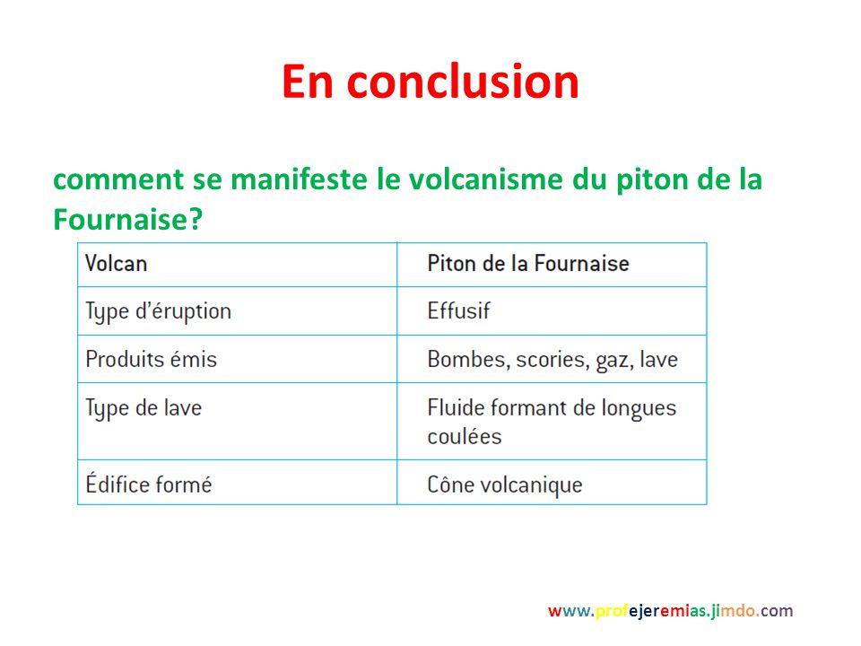 En conclusion www.profejeremias.jimdo.com comment se manifeste le volcanisme du piton de la Fournaise?