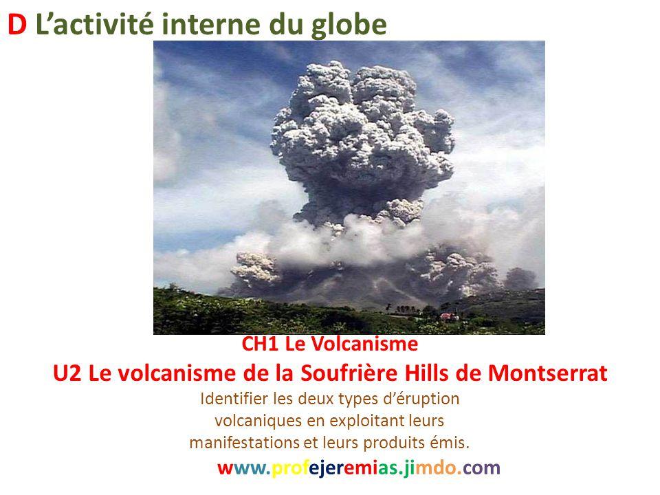 CH1 Le Volcanisme U2 Le volcanisme de la Soufrière Hills de Montserrat Identifier les deux types d'éruption volcaniques en exploitant leurs manifestat