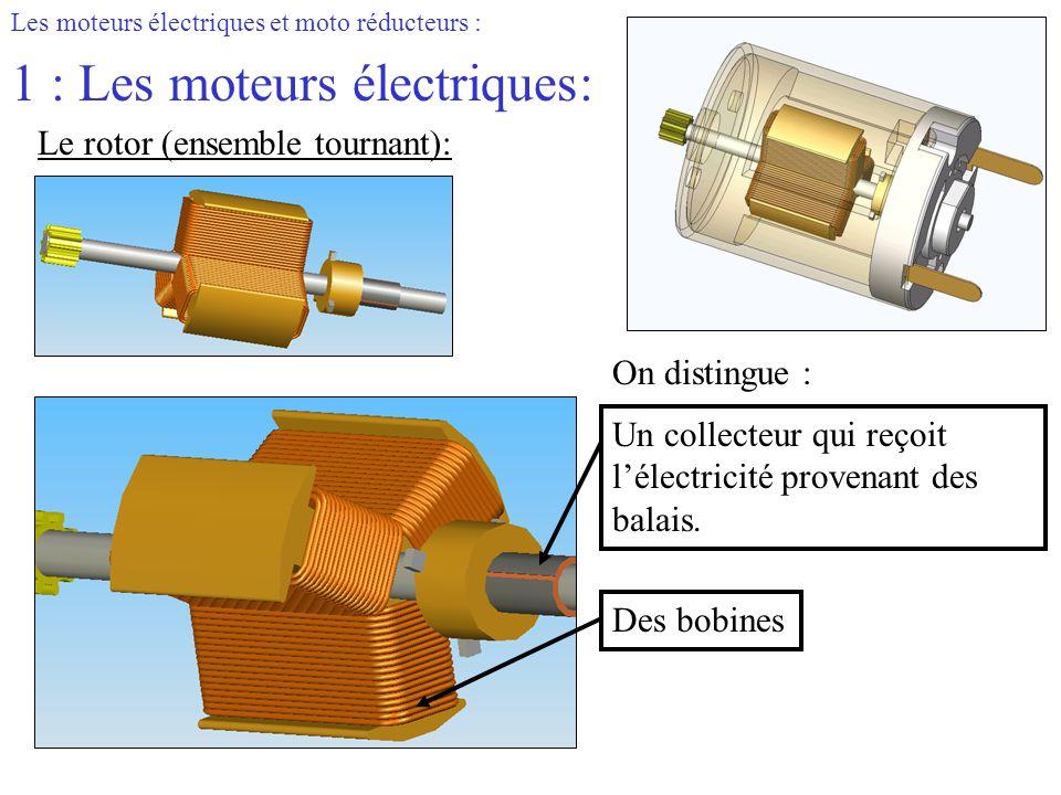 Les moteurs électriques et moto réducteurs : 1 : Les moteurs électriques: Le rotor (ensemble tournant): On distingue : Un collecteur qui reçoit l'élec
