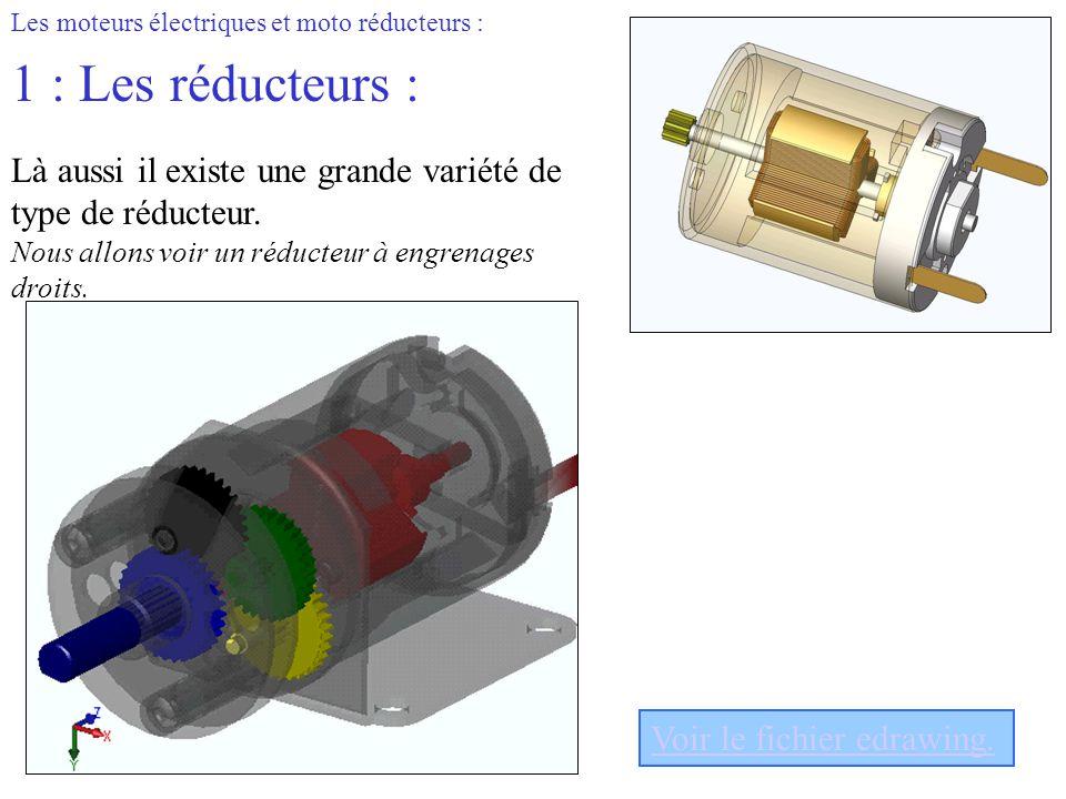 Les moteurs électriques et moto réducteurs : 1 : Les réducteurs : Là aussi il existe une grande variété de type de réducteur. Nous allons voir un rédu