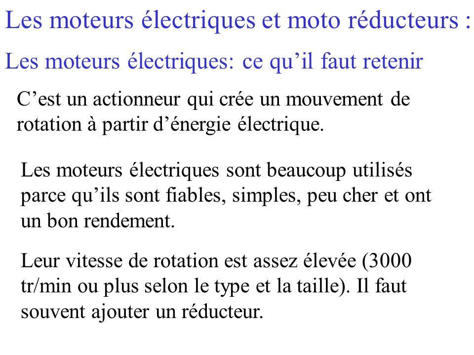 Les moteurs électriques et moto réducteurs : C'est un actionneur qui crée un mouvement de rotation à partir d'énergie électrique. Les moteurs électriq
