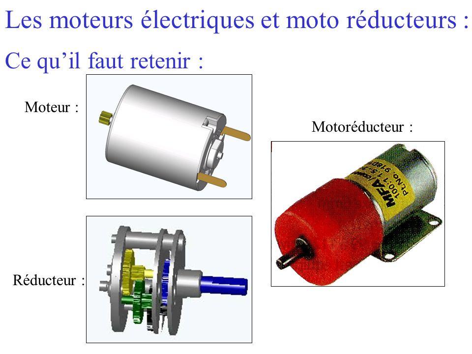 Les moteurs électriques et moto réducteurs : Ce qu'il faut retenir : Réducteur : Moteur : Motoréducteur :