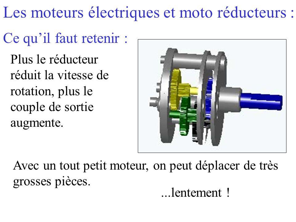 Les moteurs électriques et moto réducteurs : Ce qu'il faut retenir : Plus le réducteur réduit la vitesse de rotation, plus le couple de sortie augment