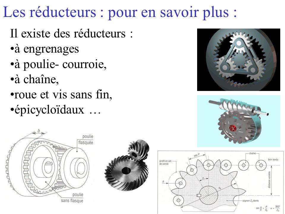Les réducteurs : pour en savoir plus : Il existe des réducteurs : à engrenages à poulie- courroie, à chaîne, roue et vis sans fin, épicycloïdaux …