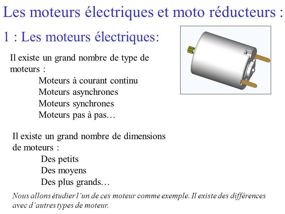 Les moteurs électriques et moto réducteurs : Il existe un grand nombre de type de moteurs : Moteurs à courant continu Moteurs asynchrones Moteurs sync