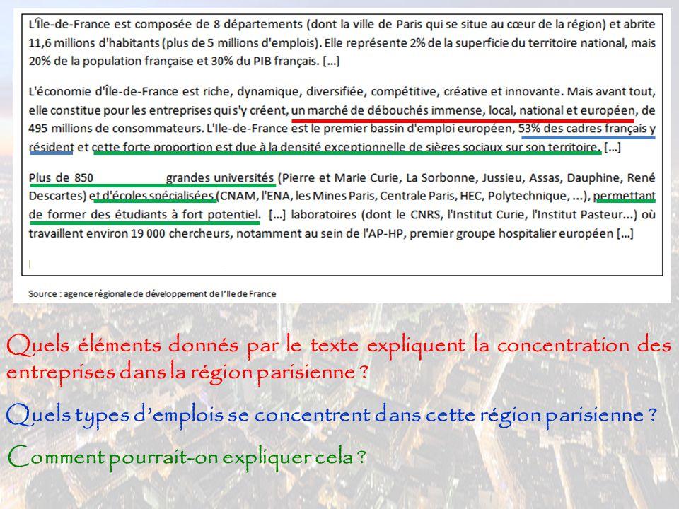Quels éléments donnés par le texte expliquent la concentration des entreprises dans la région parisienne ? Quels types d'emplois se concentrent dans c