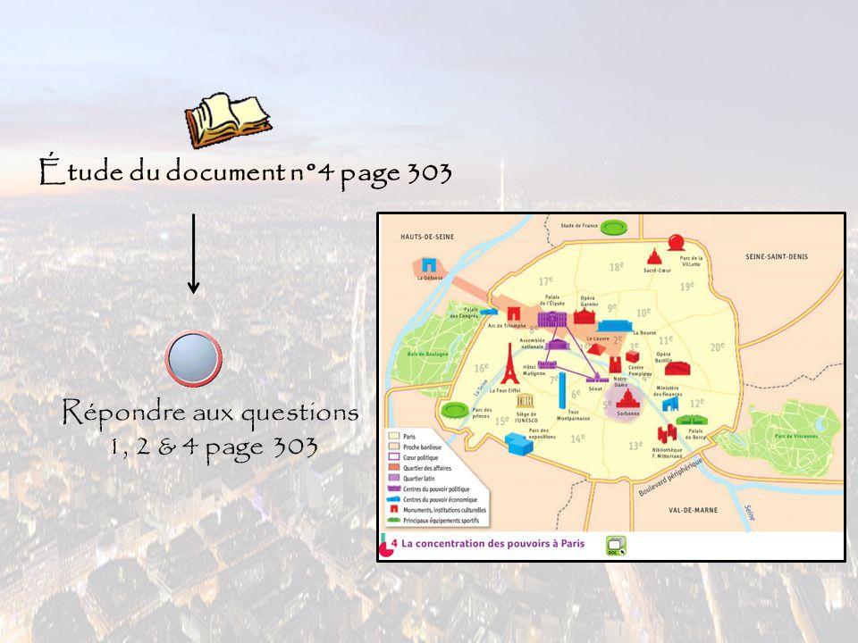 Étude du document n°4 page 303 Répondre aux questions 1, 2 & 4 page 303