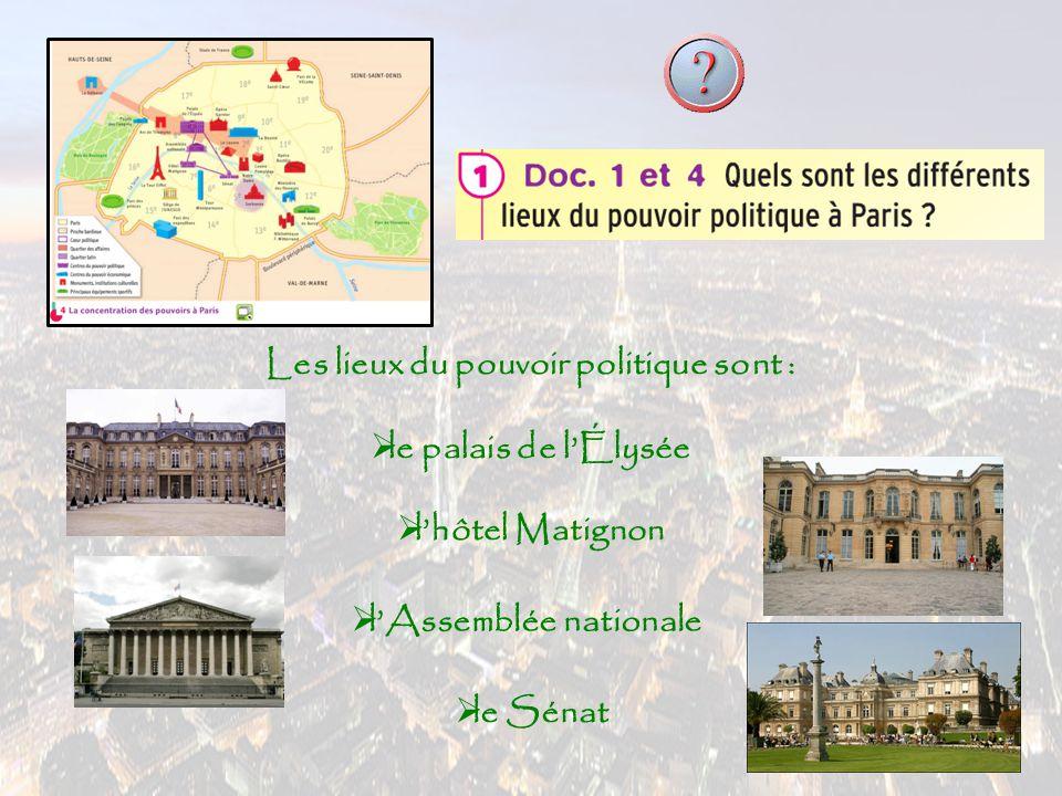 Les lieux du pouvoir économique sont : lle quartier de la Défense  la Bourse lle ministère des Finances lla Tour Montparnasse lle parc des Expositions lle palais des congrès