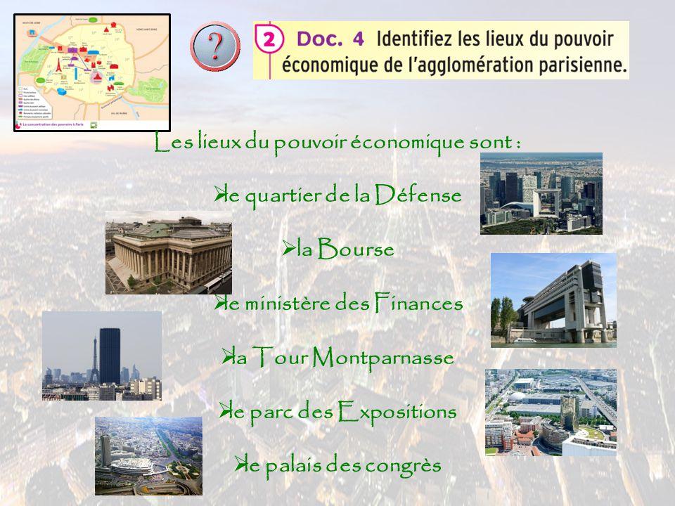Les lieux du pouvoir économique sont : lle quartier de la Défense  la Bourse lle ministère des Finances lla Tour Montparnasse lle parc des Ex