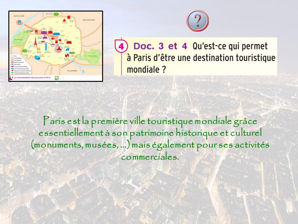 Paris est la première ville touristique mondiale grâce essentiellement à son patrimoine historique et culturel (monuments, musées, …) mais également p