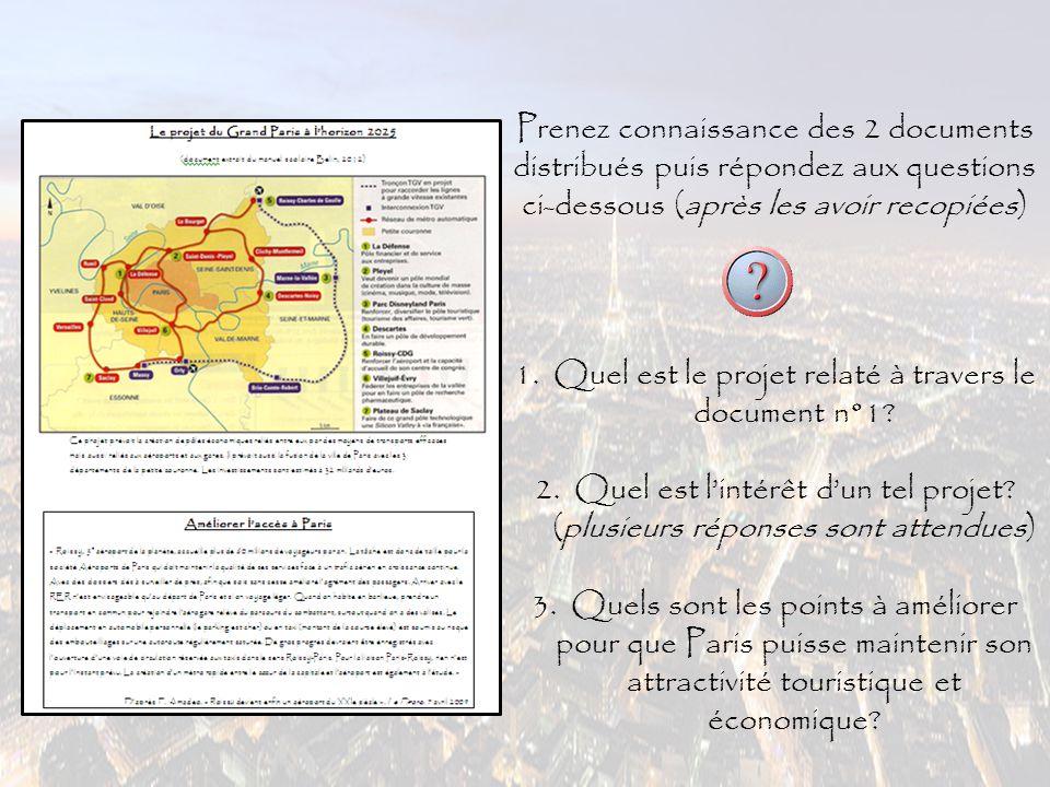 1.Quel est le projet relaté à travers le document n°1.