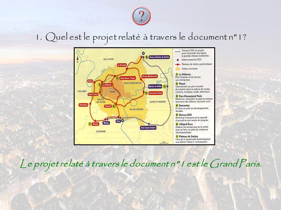 1.Quel est le projet relaté à travers le document n°1? Le projet relaté à travers le document n°1 est le Grand Paris.