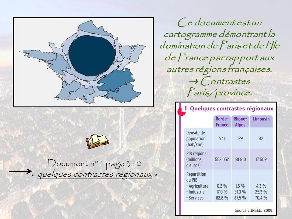 Ce document est un cartogramme démontrant la domination de Paris et de l'Ile de France par rapport aux autres régions françaises.  Contrastes Paris/p