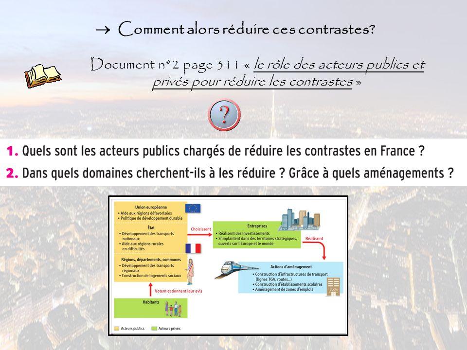  Comment alors réduire ces contrastes? Document n°2 page 311 « le rôle des acteurs publics et privés pour réduire les contrastes »