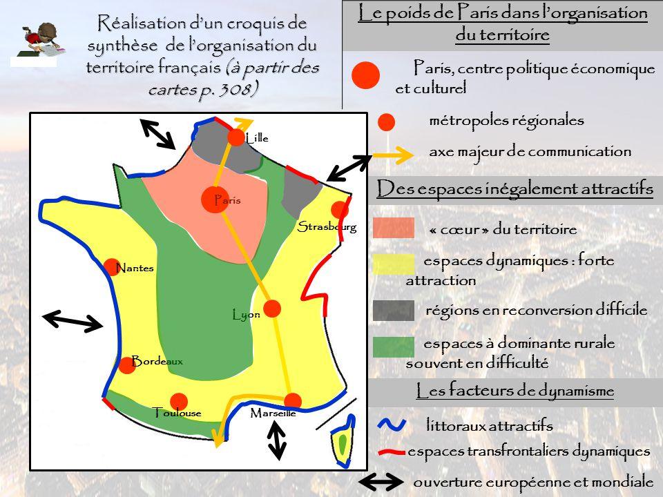 Réalisation d'un croquis de synthèse de l'organisation du territoire français (à partir des cartes p. 308) Paris Le poids de Paris dans l'organisation
