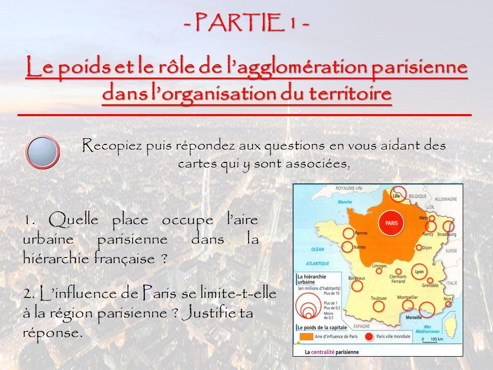 - PARTIE 1 - Le poids et le rôle de l'agglomération parisienne dans l'organisation du territoire Recopiez puis répondez aux questions en vous aidant d