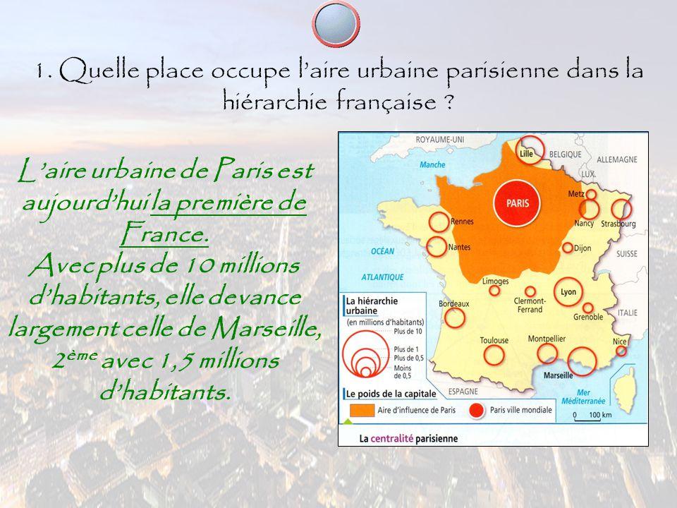 1. Quelle place occupe l'aire urbaine parisienne dans la hiérarchie française ? L'aire urbaine de Paris est aujourd'hui la première de France. Avec pl