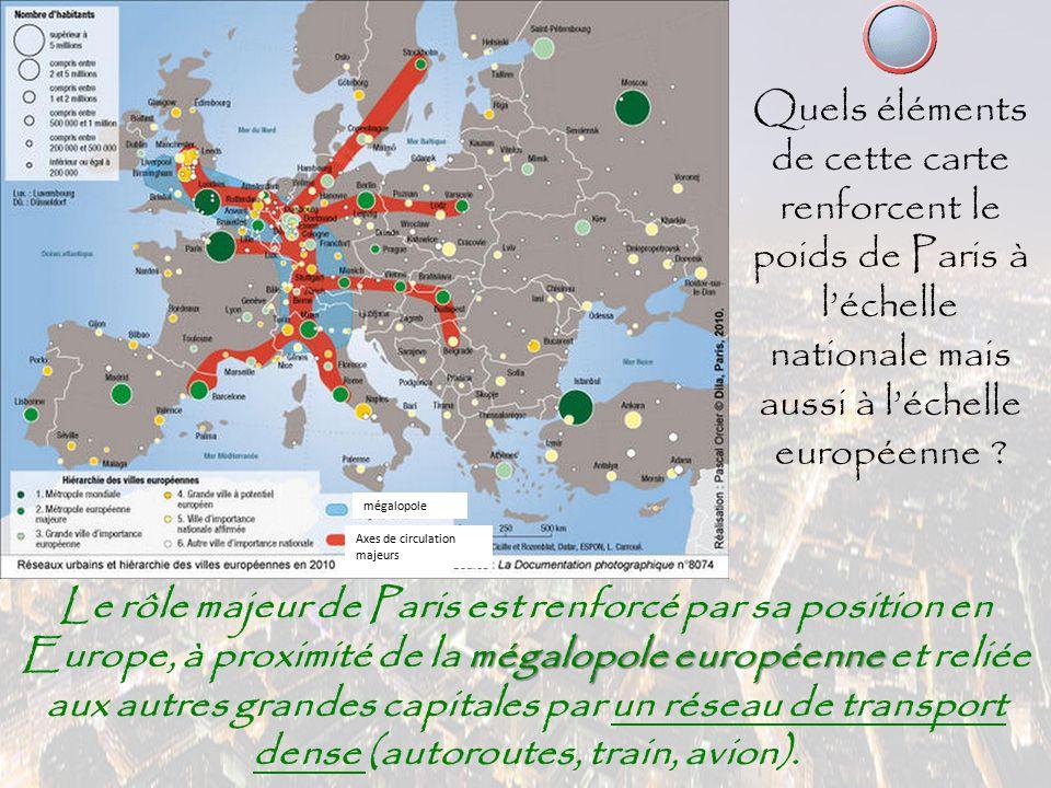 Quels éléments de cette carte renforcent le poids de Paris à l'échelle nationale mais aussi à l'échelle européenne ? mégalopole européenne Le rôle maj