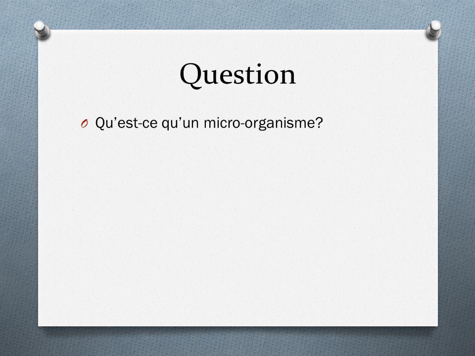 Question O Qu'est-ce qu'un micro-organisme?