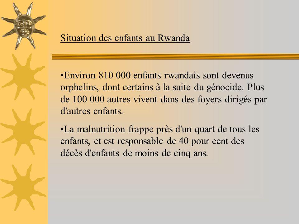 Situation des enfants au Rwanda Environ 810 000 enfants rwandais sont devenus orphelins, dont certains à la suite du génocide.