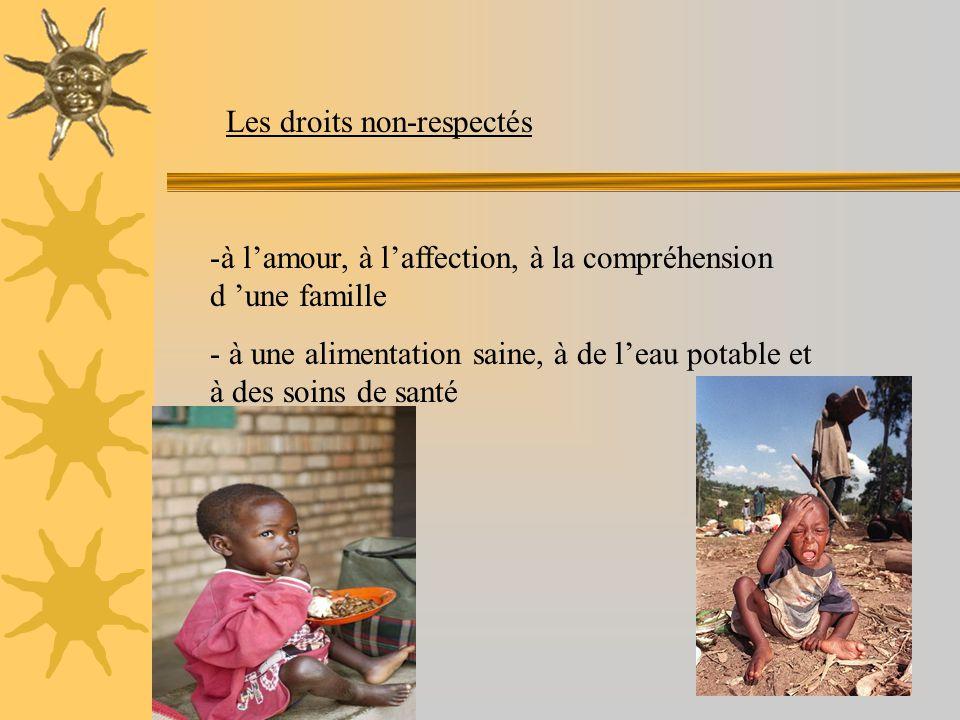 -à l'amour, à l'affection, à la compréhension d 'une famille - à une alimentation saine, à de l'eau potable et à des soins de santé Les droits non-respectés