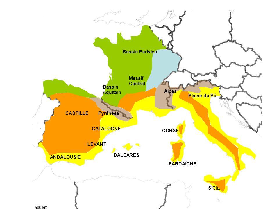 CASTILLE Bassin Parisien ANDALOUSIE Bassin Aquitain CATALOGNE Massif Central BALEARES SARDAIGNE CORSE SICILE Plaine du Pô Pyrénées Alpes LEVANT