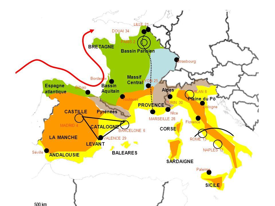 CASTILLE Bassin Parisien ANDALOUSIE Bassin Aquitain CATALOGNE Massif Central BALEARES SARDAIGNE CORSE Plaine du Pô Pyrénées Alpes LEVANT PARIS 2 MADRID 4 BARCELONE 6 MILAN 8 ROME 13 NAPLES 12 LILLE 21 DOUAI 34 LYON 25 MARSEILLE 28 VALENCE 29 TURIN 30 Bordeaux Toulouse Bilbao Séville Palerme Florence Bologne Strasbourg BRETAGNE Espagne atlantique LA MANCHE PROVENCE NIce SICILE
