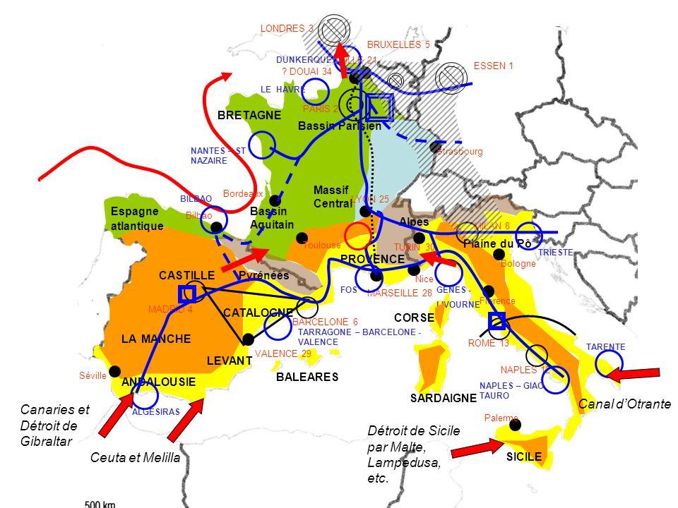 CASTILLE Bassin Parisien ANDALOUSIE Bassin Aquitain CATALOGNE Massif Central BALEARES SARDAIGNE CORSE Plaine du Pô Pyrénées Alpes LEVANT PARIS 2 MADRID 4 BARCELONE 6 MILAN 8 ROME 13 NAPLES 12 LILLE 21 .