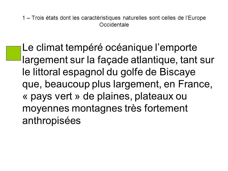1 – Trois états dont les caractéristiques naturelles sont celles de l'Europe Occidentale Le climat tempéré océanique l'emporte largement sur la façade atlantique, tant sur le littoral espagnol du golfe de Biscaye que, beaucoup plus largement, en France, « pays vert » de plaines, plateaux ou moyennes montagnes très fortement anthropisées