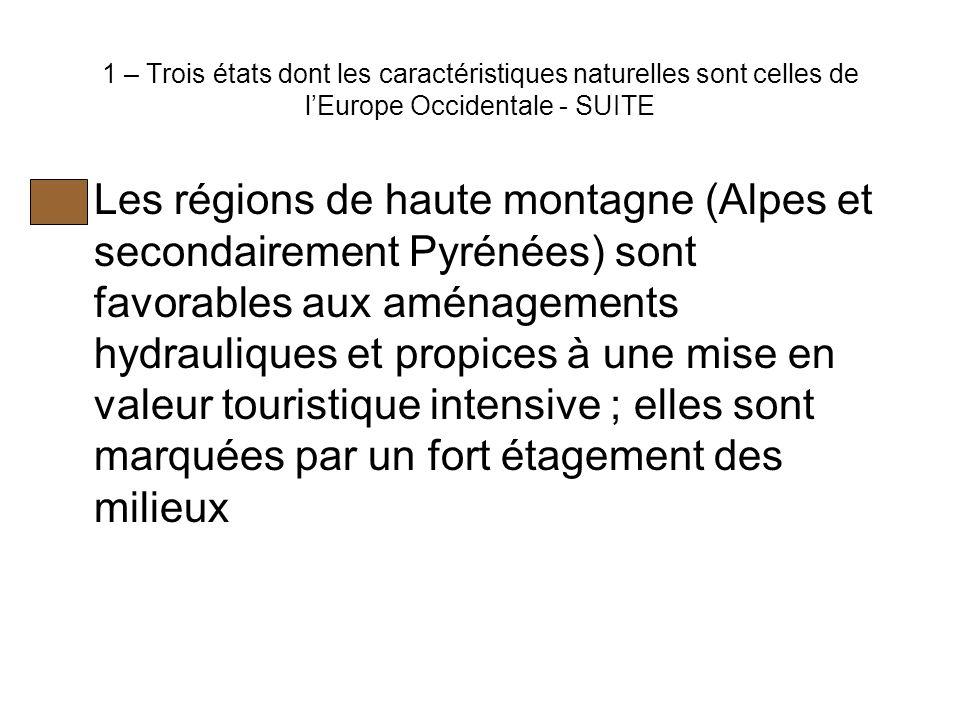 1 – Trois états dont les caractéristiques naturelles sont celles de l'Europe Occidentale - SUITE Les régions de haute montagne (Alpes et secondairement Pyrénées) sont favorables aux aménagements hydrauliques et propices à une mise en valeur touristique intensive ; elles sont marquées par un fort étagement des milieux