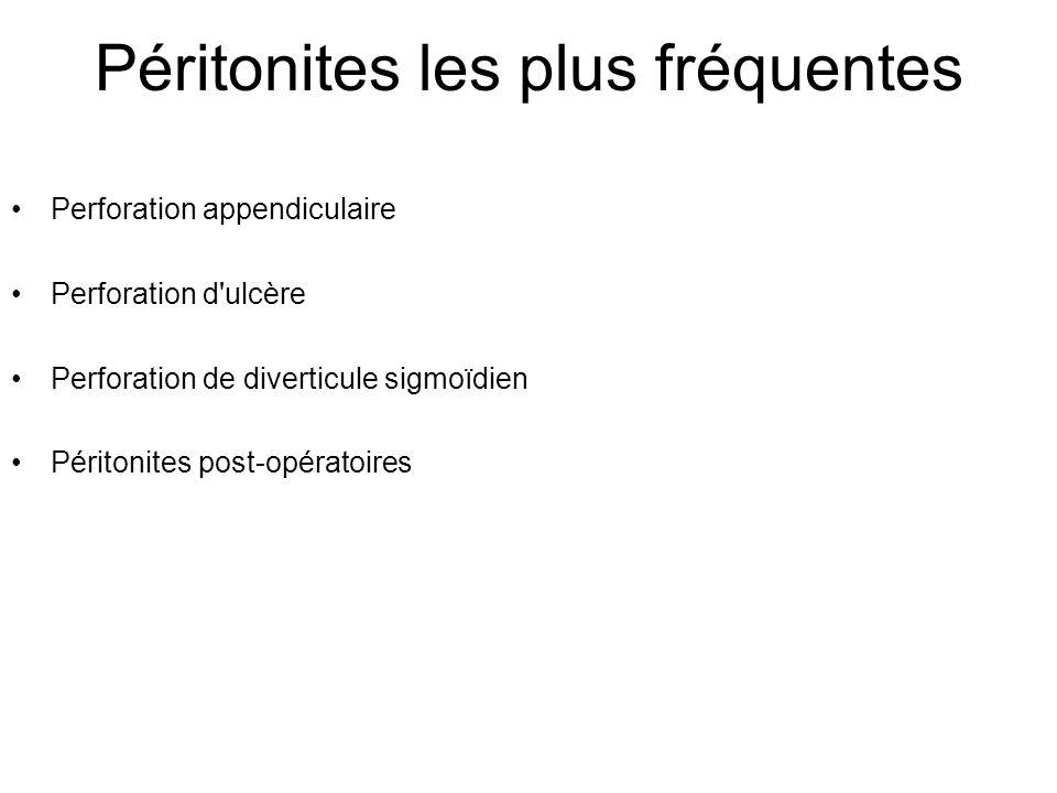 Péritonites les plus fréquentes Perforation appendiculaire Perforation d ulcère Perforation de diverticule sigmoïdien Péritonites post-opératoires
