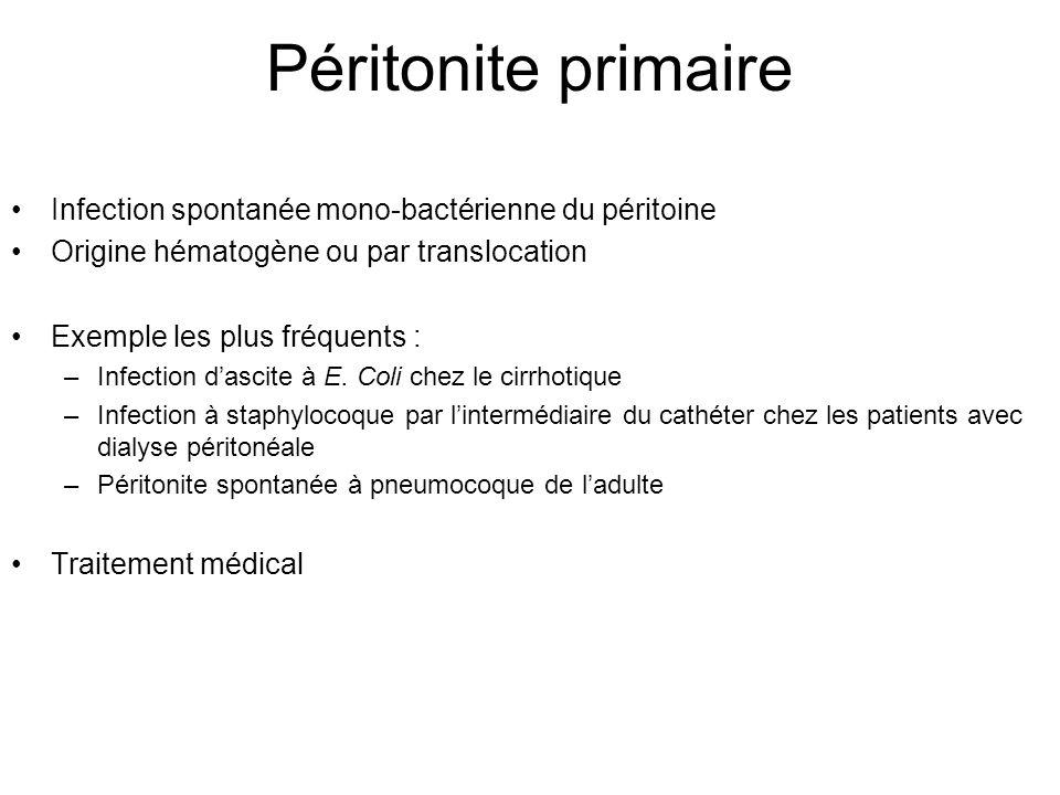 Péritonite primaire Infection spontanée mono-bactérienne du péritoine Origine hématogène ou par translocation Exemple les plus fréquents : –Infection d'ascite à E.