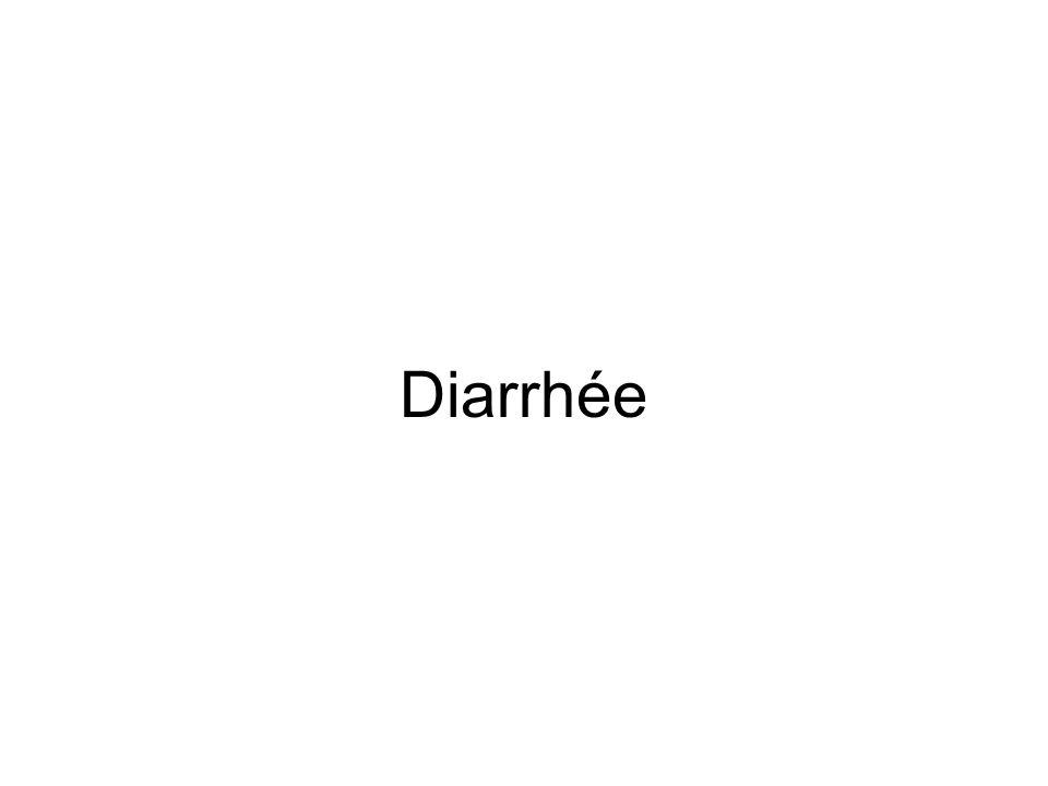 Définition de la diarrhée Emissions quotidiennes trop fréquentes de selles trop abondantes, liquides ou très molles (poids supérieur à 300 g/j) En pratique = au moins trois selles très molles à liquides par jour Diarrhée aiguë < 2 semaines Diarrhée prolongée = 2-4 semaines Diarrhée chronique > 4 semaines