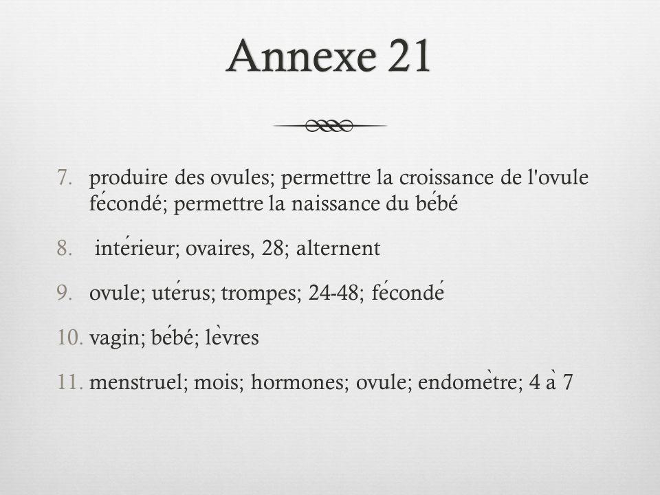 Annexe 21Annexe 21 7.produire des ovules; permettre la croissance de l ovule fecondé; permettre la naissance du bebé 8.