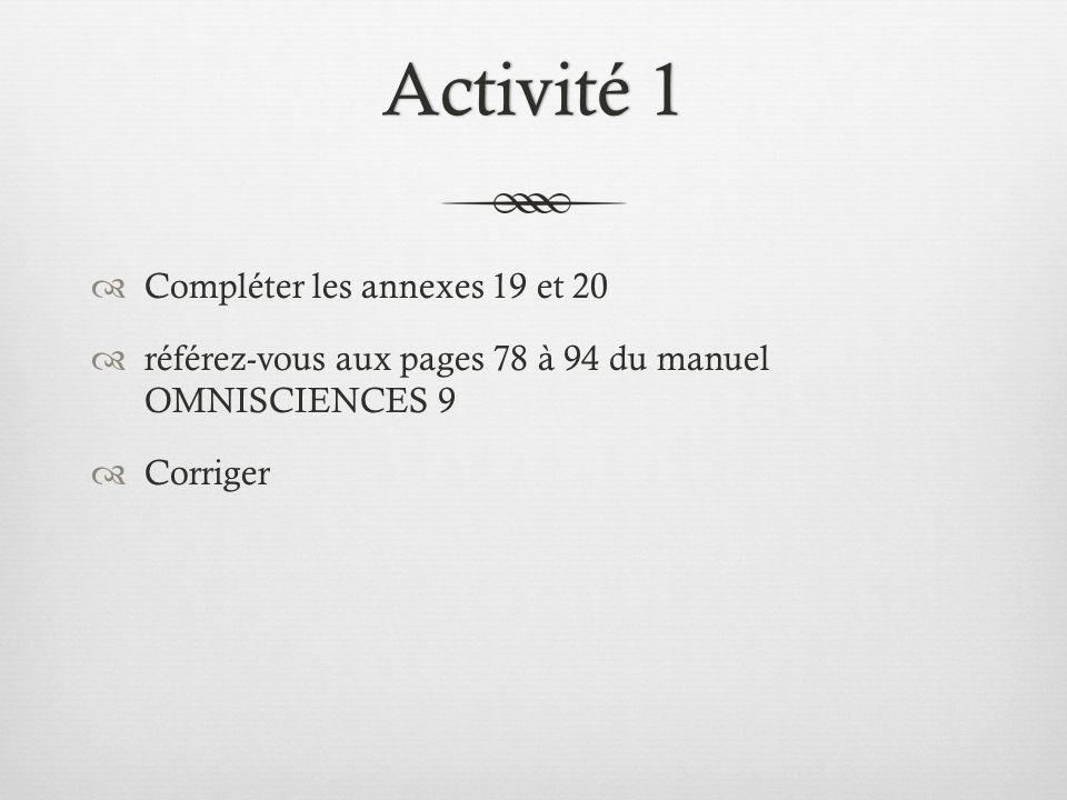 Activité 1Activité 1  Compléter les annexes 19 et 20  référez-vous aux pages 78 à 94 du manuel OMNISCIENCES 9  Corriger