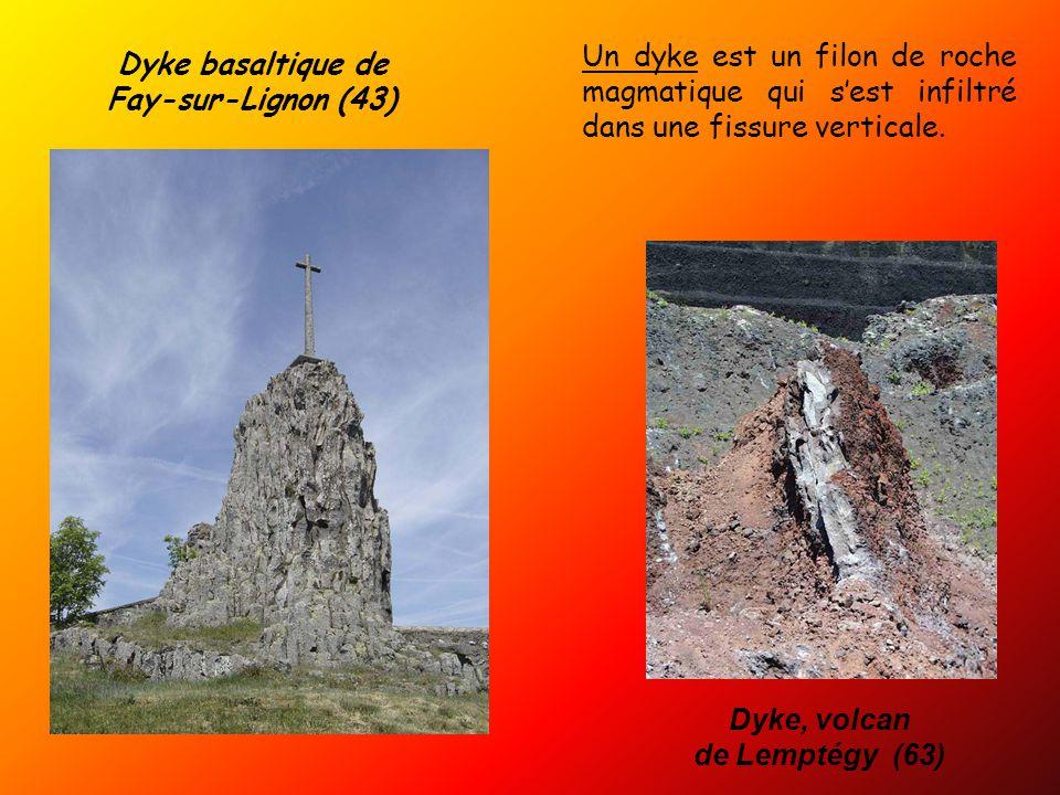 Dyke basaltique de Fay-sur-Lignon (43) Un dyke est un filon de roche magmatique qui s'est infiltré dans une fissure verticale.