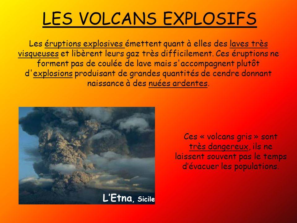 LES VOLCANS EXPLOSIFS Les éruptions explosives émettent quant à elles des laves très visqueuses et libèrent leurs gaz très difficilement.