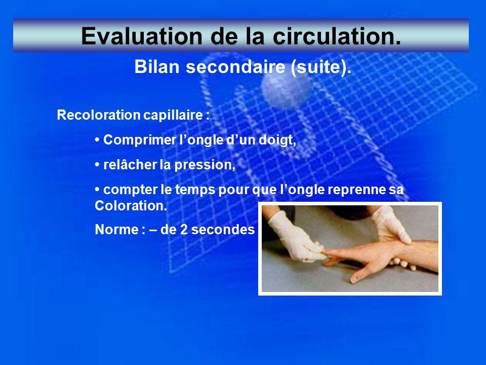Evaluation de la circulation. Bilan secondaire (suite). Recoloration capillaire : Comprimer l'ongle d'un doigt, relâcher la pression, compter le temps