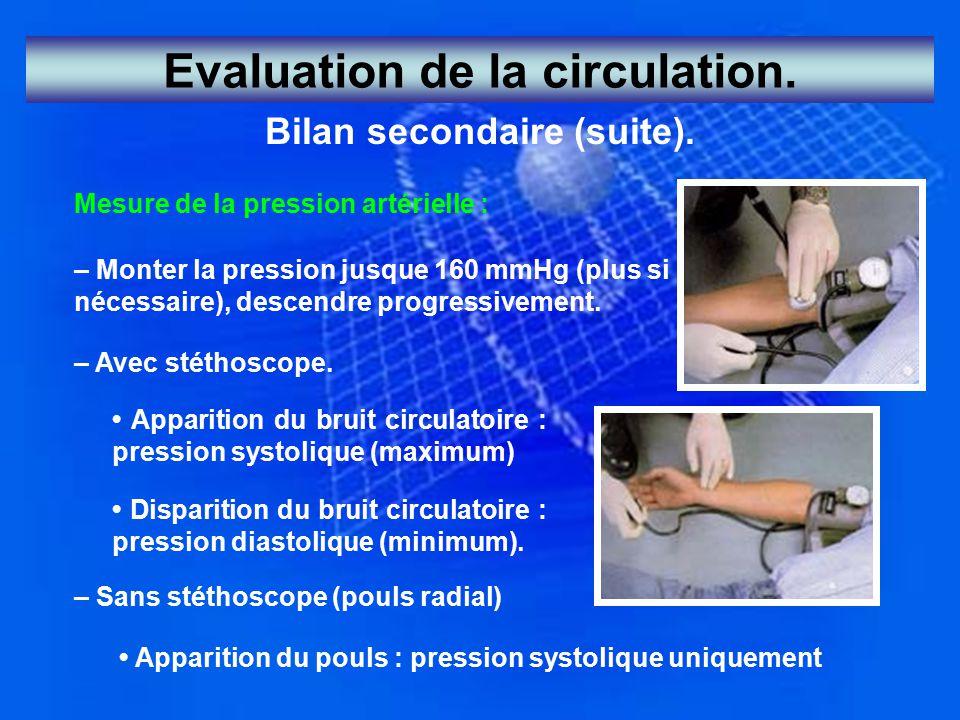 Bilan secondaire (suite). Mesure de la pression artérielle : – Monter la pression jusque 160 mmHg (plus si nécessaire), descendre progressivement. – A