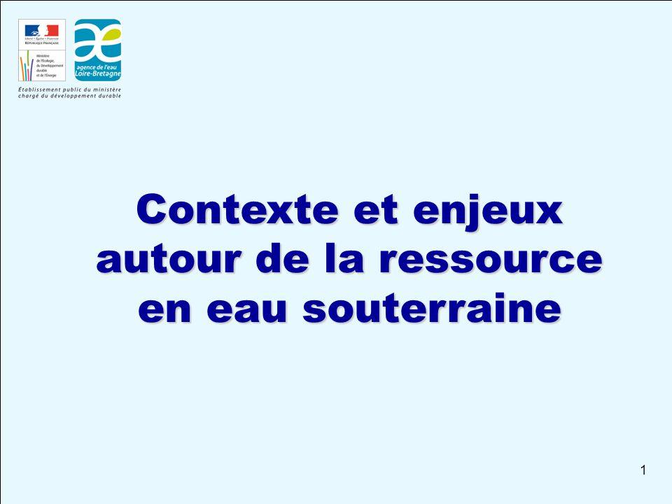 1 Contexte et enjeux autour de la ressource en eau souterraine